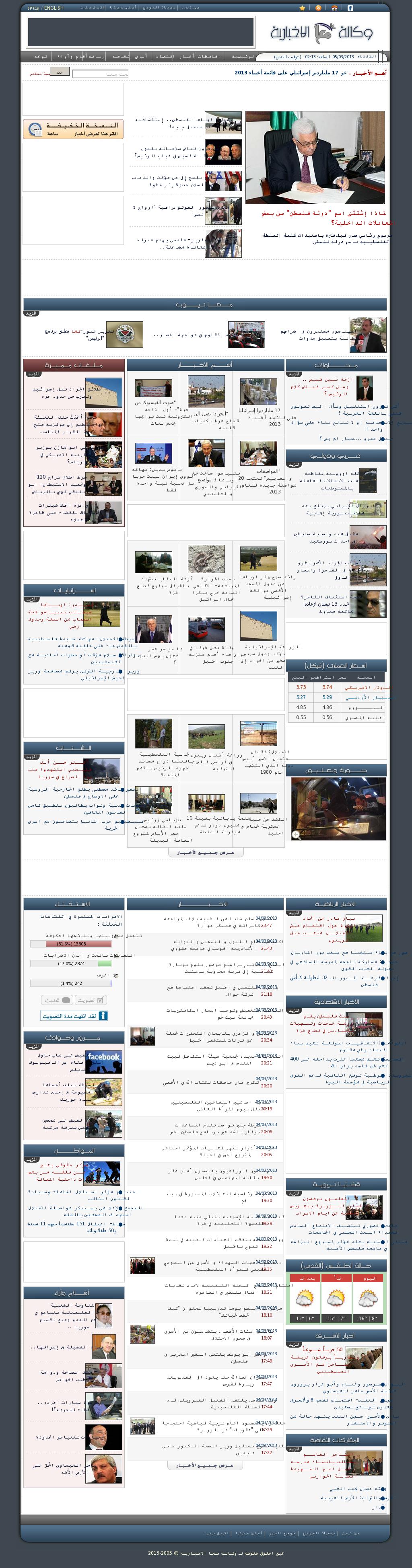 Ma'an News at Tuesday March 5, 2013, 12:13 a.m. UTC