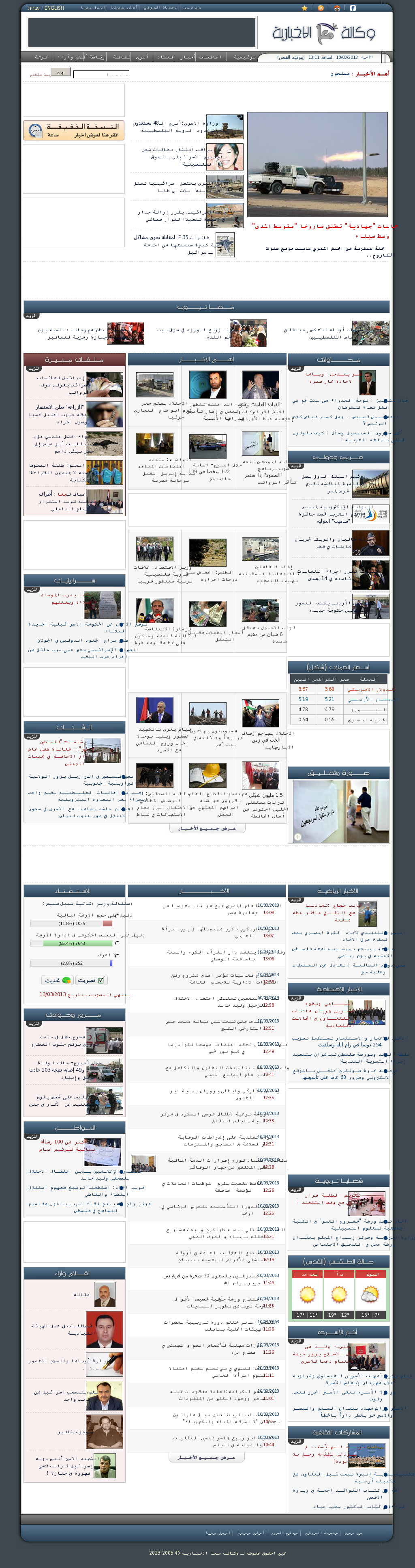 Ma'an News at Sunday March 10, 2013, 11:10 a.m. UTC