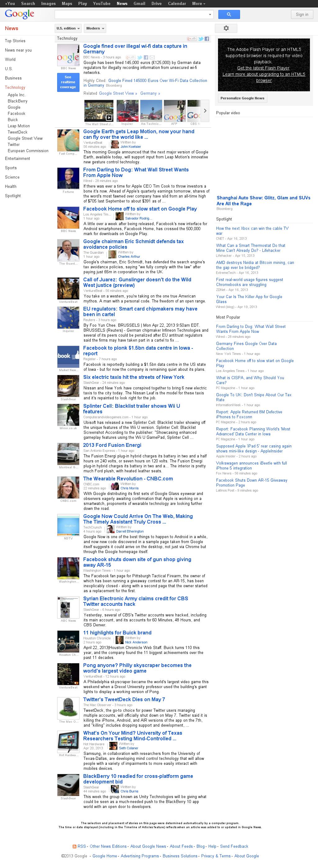 Google News: Technology at Monday April 22, 2013, 5:08 p.m. UTC