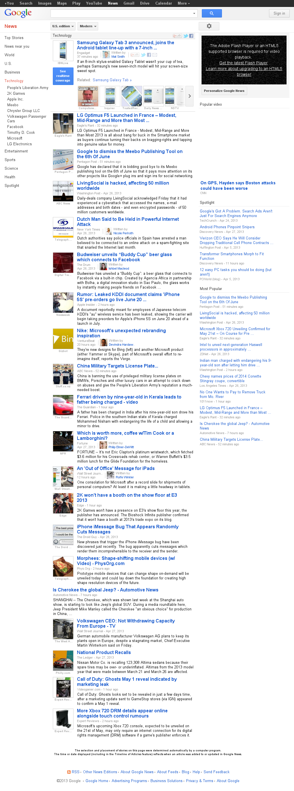 Google News: Technology at Monday April 29, 2013, 11:09 a.m. UTC