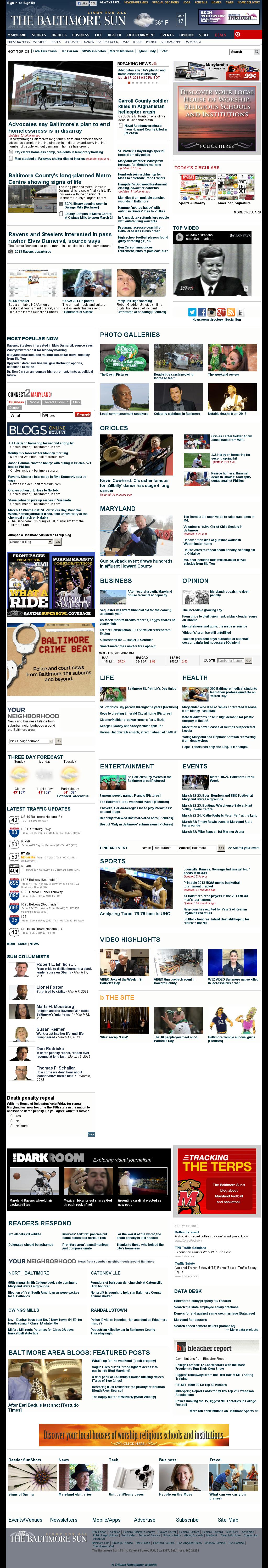 The Baltimore Sun at Monday March 18, 2013, 2:01 a.m. UTC