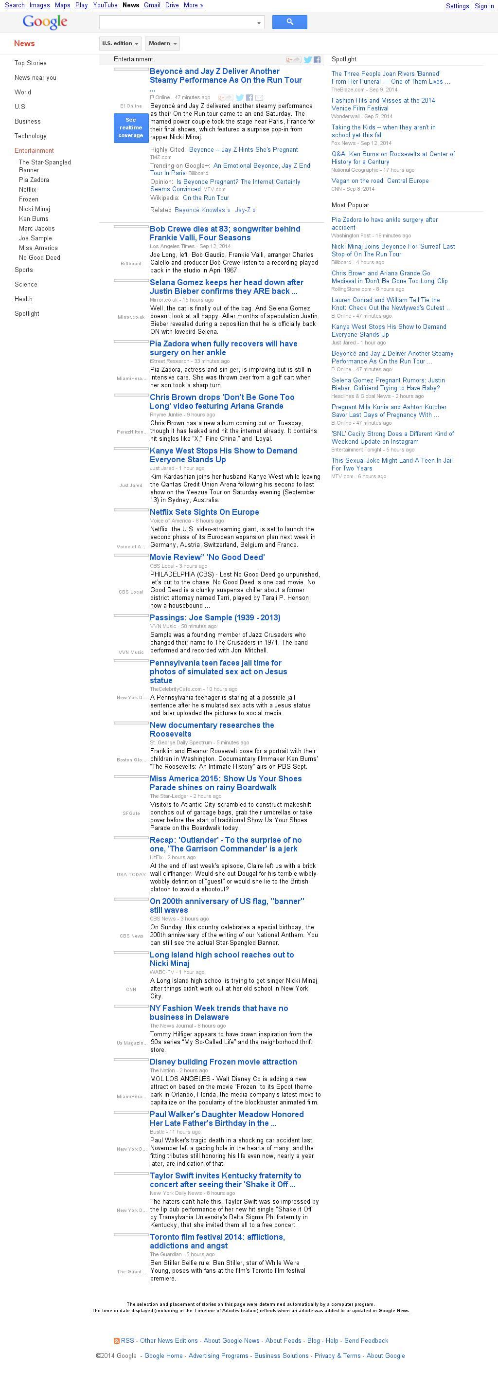 Google News: Entertainment at Sunday Sept. 14, 2014, 5:06 a.m. UTC