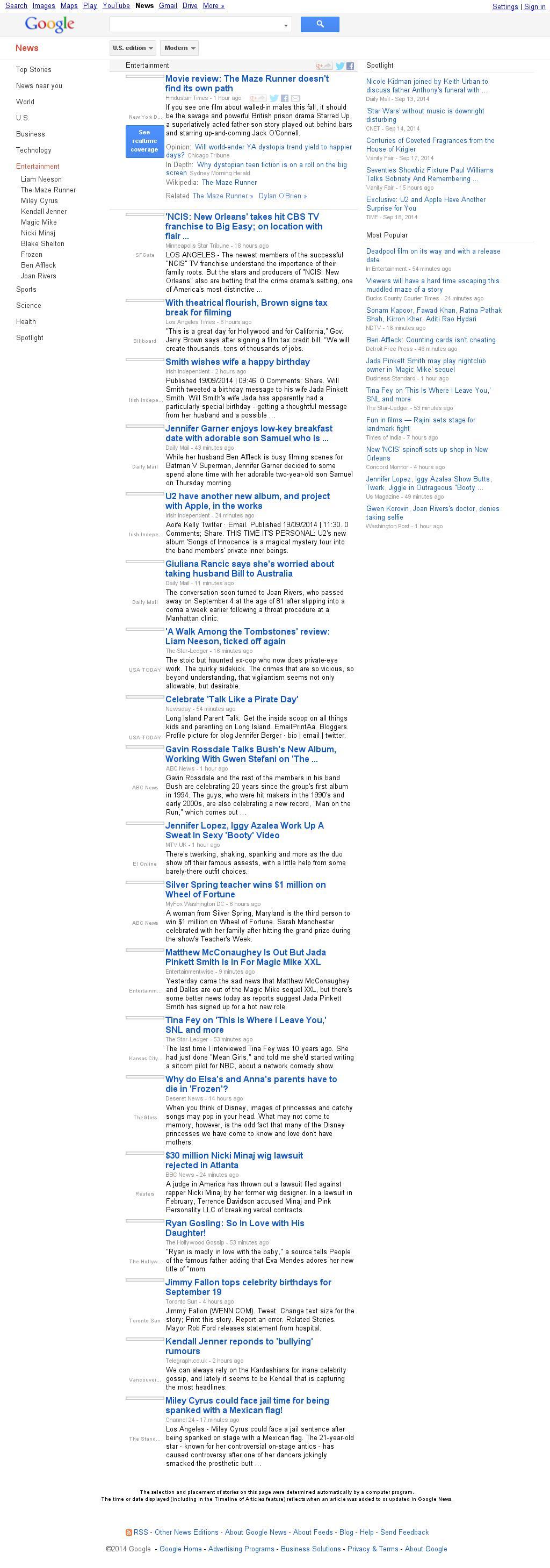 Google News: Entertainment at Friday Sept. 19, 2014, 11:07 a.m. UTC