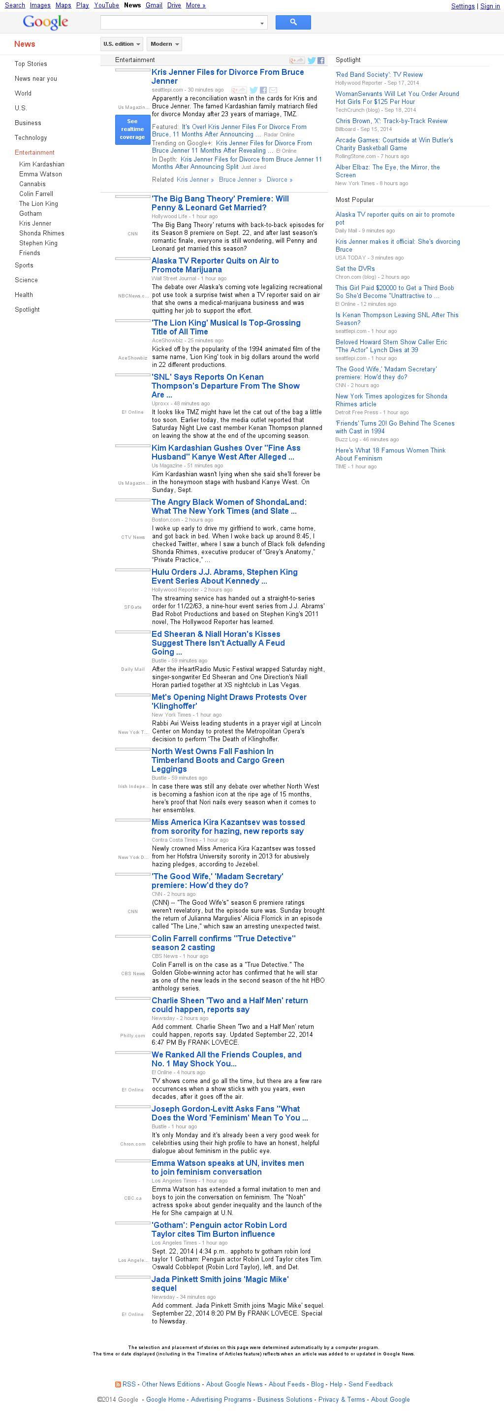 Google News: Entertainment at Tuesday Sept. 23, 2014, 1:08 a.m. UTC