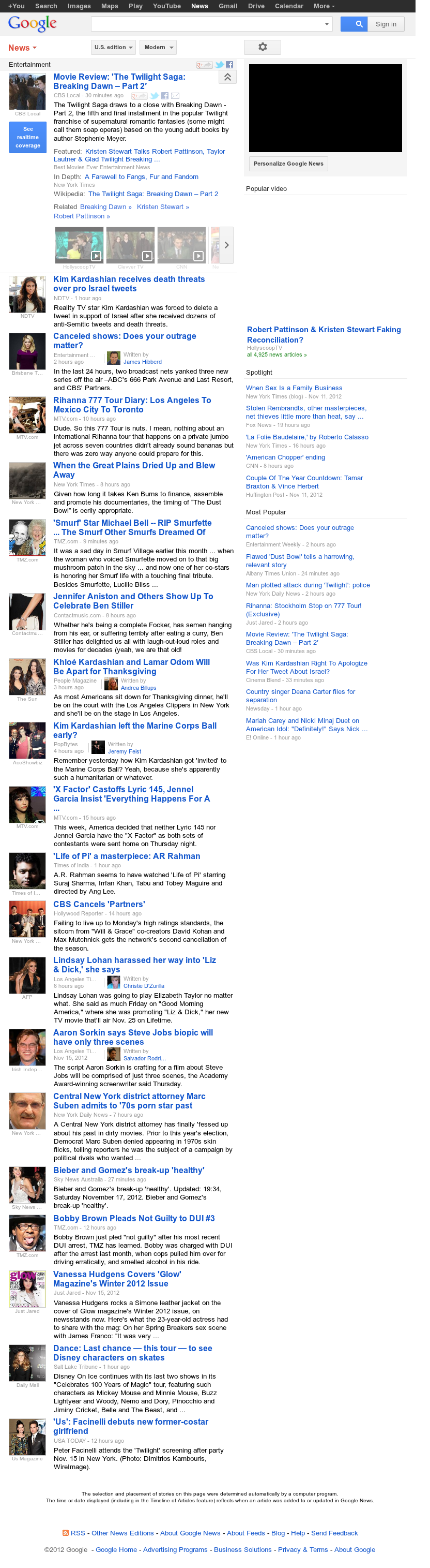 Google News: Entertainment at Saturday Nov. 17, 2012, 9:10 a.m. UTC