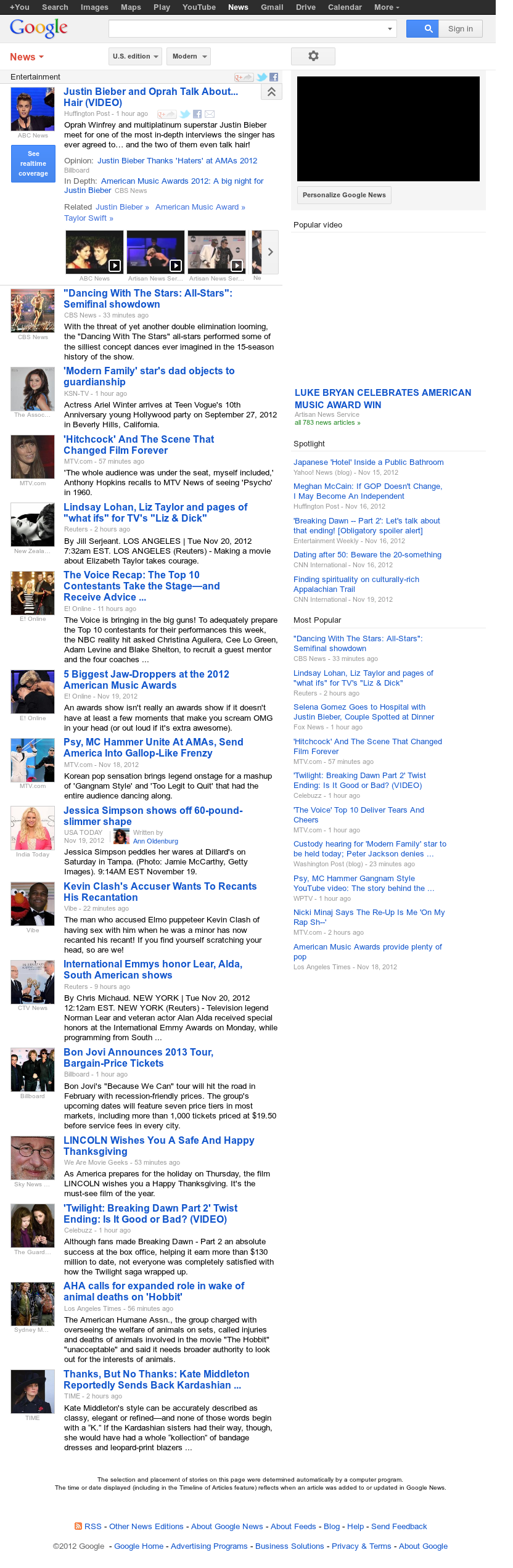 Google News: Entertainment at Tuesday Nov. 20, 2012, 3:10 p.m. UTC