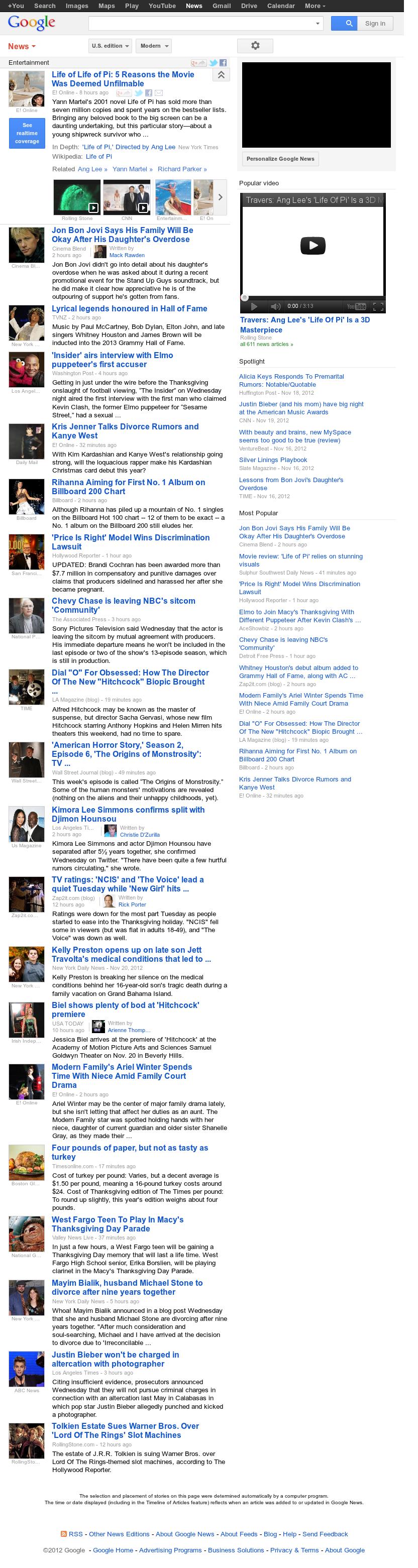 Google News: Entertainment at Thursday Nov. 22, 2012, 5:11 a.m. UTC