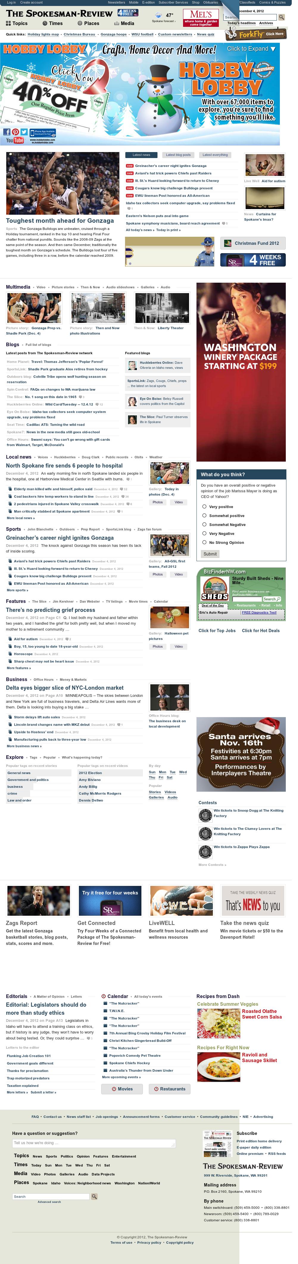 The (Spokane) Spokesman-Review at Wednesday Dec. 5, 2012, 7:33 a.m. UTC
